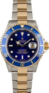 Rolex Two Tone Submariner Blue Dial 16613