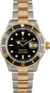 Pre Owned Rolex Submariner Two-Tone Black 16613