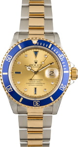 Pre Owned Rolex Submariner Blue 16613 Serti
