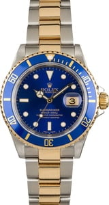 Used Blue Rolex Submariner 16613 Gold Thru Clasp
