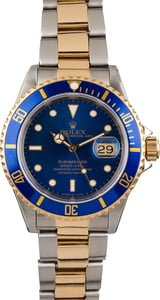 Mens Used Two Tone Blue Dial Rolex Submariner 16613