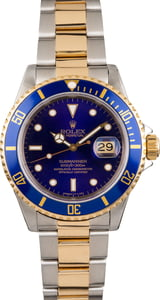 Used Blue Dial Rolex Submariner 16613 Two Tone