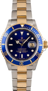 Used Blue Dial Rolex Two Tone Submariner 16613