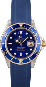 Used Rolex Two Tone Submariner 16613 Blue Rubber Strap