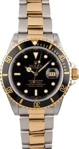 Men's Rolex Submariner 16613 Black Dial Two Tone Oyster