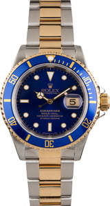 Pre Owned Rolex Two Tone Submariner 16613 Blue Bezel Insert