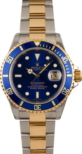 Pre-Owned Rolex Submariner 16613 Blue Dial Gold Thru Clasp