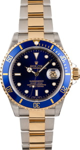 PreOwned Rolex Two Tone Submariner 16613 Blue Timing Bezel