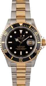 Pre Owned 40MM Rolex Submariner Two-Tone Black 16613