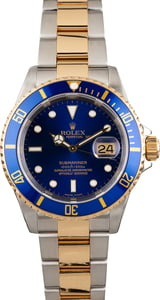 PreOwned Rolex Two Tone Submariner 16613 Blue Luminous Dial
