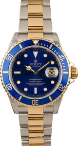 Pre-Owned Rolex Two Tone Submariner 16613 Blue Luminous Dial