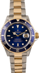 Pre Owned Rolex Submariner 16613 Sunburst Blue Dial