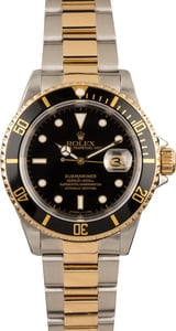 Used Rolex Submariner Two Tone 16613 Black Dial