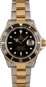 Pre Owned Rolex Submariner 16613 Two-Tone Black Dial