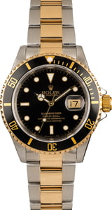 Pre-Owned Rolex Submariner Two Tone 16613 Black Dial Watch