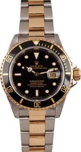 Rolex Submariner Two Tone Oyster 16613 Black Dial