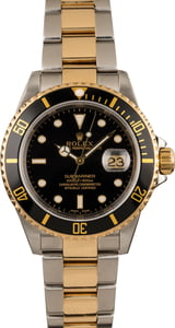 Used Rolex Submariner Two Tone Oyster 16613 Gold Thru Clasp