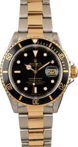 Rolex Two Tone Submariner 16613 Black Dial
