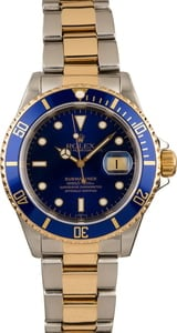 Used Rolex Two Tone Blue Dial Submariner 16613 T