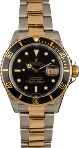 Pre-Owned Rolex Two Tone Submariner 16613 Black Dial