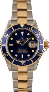 Used Rolex Blue Dial Two Tone Submariner 16613