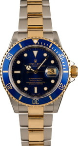 Used Rolex Two Tone Submariner 16613 Gold Thru Clasp