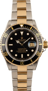 Used Rolex Two Tone Submariner 16613 Black Luminous Dial