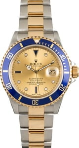 Pre Owned Rolex Submariner 16613 Champagne Serti Dial
