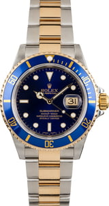 Used Rolex Blue Submariner 16613 No Holes Case