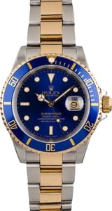 Pre Owned Two Tone Rolex Submariner 16613 Blue Dial