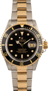 Pre Owned Rolex Submariner Two Tone 16613 Black Dial