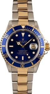 Pre-Owned Rolex Submariner 16613 Two-Tone Sunburst Blue