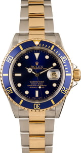 Pre-Owned Mens Rolex Submariner Two Tone with Blue Face Model 16613