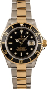 Pre-Owned Rolex Black Dial Submariner 16613 Two Tone