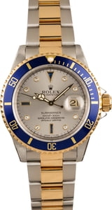 Pre-owned Rolex Submariner 16613 Steel Serti Dial
