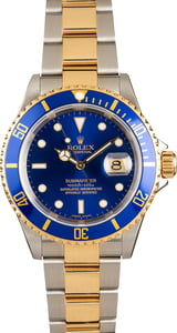 Submariner Rolex Blue 16613 Steel & Gold