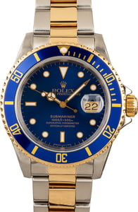 Blue Rolex Submariner 16613 Mens