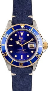Rolex Submariner Two Tone 16613 Leather Strap