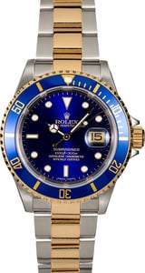 Rolex Submariner Blue 16613T Gold-Thru Clasp
