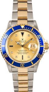 Pre Owned Rolex Two Tone Submariner 16613T Serti Dial