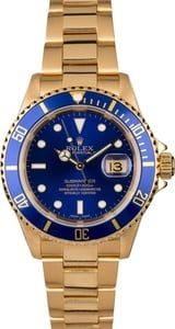 Blue Dial Rolex Submariner 16618 Yellow Gold Oyster