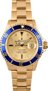 Rolex Serti Submariner 16618 Yellow Gold Oyster