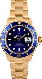 PreOwned Rolex Submariner 16618 Yellow Gold Oyster