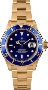 Rolex Submariner 16618 Yellow Gold Oyster Blue Bezel