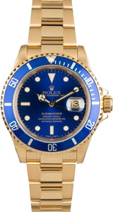 Rolex 18k Yellow Gold Submariner 16618 Certified Pre Owned