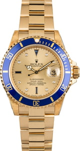 Used Rolex Submariner 16618 Champagne Serti Dial