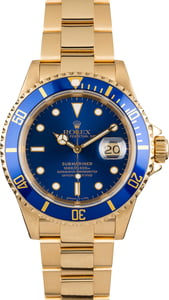 PreOwned Rolex Submariner 16618 Yellow Gold Oyster Band