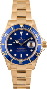 Used Rolex Submariner 16618 Yellow Gold Oyster Band