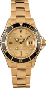 Pre Owned Rolex Submariner 16618 Champagne Serti Dial