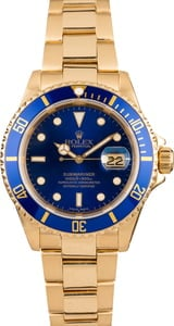 Rolex Yellow Gold Submariner Blue Dial 16618